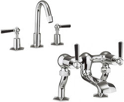 Crosswater Waldorf 3 Hole Basin Mixer & Bath Filler Tap (Black Handles).