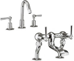 Crosswater Waldorf 3 Hole Basin Mixer & Bath Filler Tap (Chrome Handles).