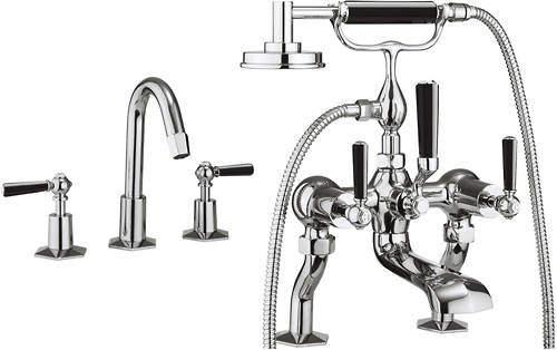 Crosswater Waldorf 3 Hole Basin & Bath Shower Mixer Tap (Black Handles).