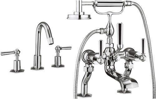 Crosswater Waldorf 3 Hole Basin & Bath Shower Mixer Tap (Chrome Handles)