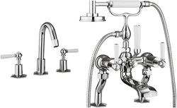 Crosswater Waldorf 3 Hole Basin & Bath Shower Mixer Tap (White Handles).