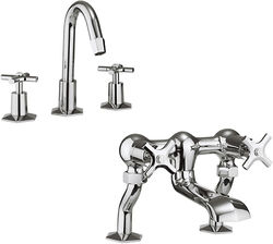 Crosswater Waldorf 3 Hole Basin Mixer & Bath Filler Tap Pack (Chrome).