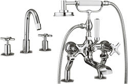 Crosswater Waldorf 3 Hole Basin & Bath Shower Mixer Tap Pack (Chrome).