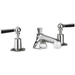 Crosswater Waldorf 3 Hole Basin Tap With Black Lever Handles.