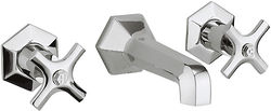 Crosswater Waldorf Wall Mounted 3 Hole Basin Tap With Crosshead Handles.