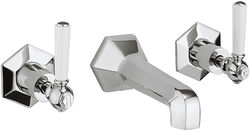 Crosswater Waldorf Wall Mounted 3 Hole Basin Tap & White Lever Handles.