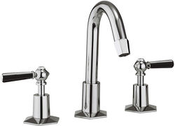 Crosswater Waldorf 3 Hole Basin Tap, Tall Spout & Black Lever Handles.