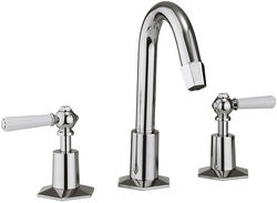 Crosswater Waldorf 3 Hole Basin Tap, Tall Spout & White Lever Handles.