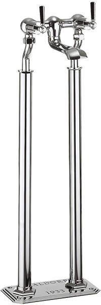 Crosswater Waldorf Floorstanding Bath Filler Tap With Black Lever Handles.