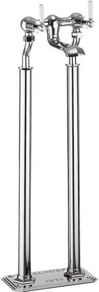 Crosswater Waldorf Floorstanding Bath Filler Tap With White Lever Handles.