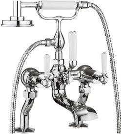 Crosswater Waldorf Bath Shower Mixer Tap With White Lever Handles.