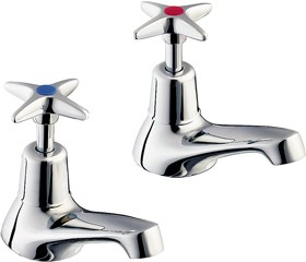 Deva Cross Handle Basin Taps (Pair).