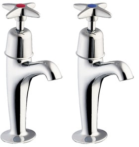 Deva Cross Handle High Neck Sink Taps (Pair).