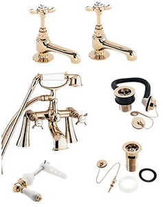 Deva Coronation Bath Tap Pack 2 (Gold).