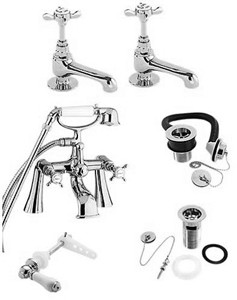 Deva Coronation Bath Tap Pack 2 (Chrome).