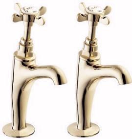 Deva Coronation BS1010 High Neck Sink Taps (Pair, Gold)