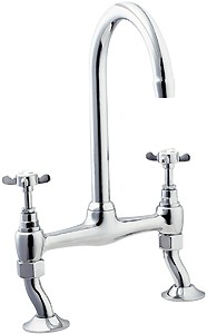 Deva Coronation Bridge Sink Mixer Tap With Swivel Spout (Chrome).