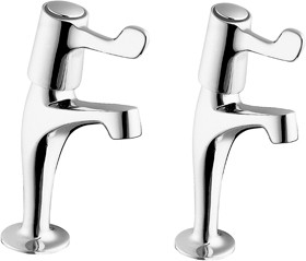 "Deva Lever Action High Neck Sink Taps with 3"" Levers (pair)."