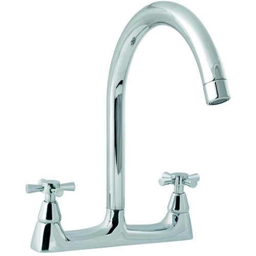 Deva Milan High Spout Deck Sink Mixer Kitchen Tap (Chrome).