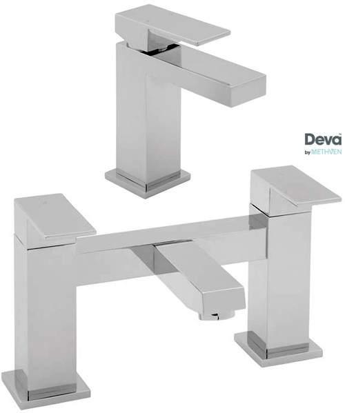Deva Savvi Basin & Bath Filler Tap Set (Chrome).