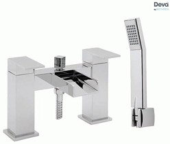 Deva Sparkle Waterfall Bath Shower Mixer Tap With Shower Kit (Chrome).