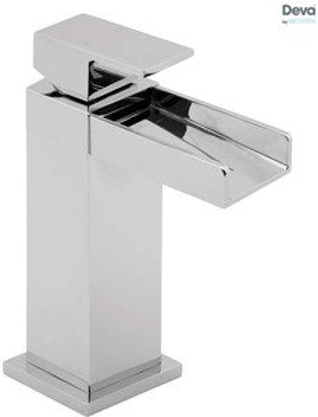 Deva Sparkle Waterfall Mono Basin Mixer Tap With Press Top Waste (Chrome).