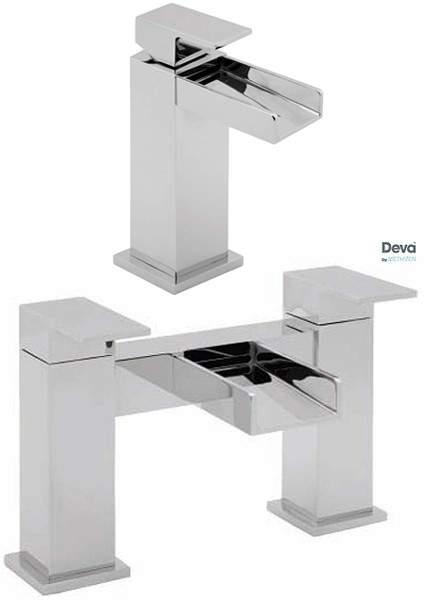 Deva Sparkle Waterfall Basin & Bath Filler Tap Set (Chrome).