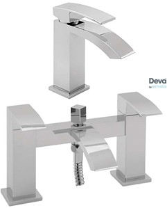 Deva Swoop Basin & Bath Shower Mixer Tap Set (Chrome).