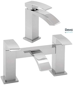 Deva Swoop Basin & Bath Filler Tap Set (Chrome).
