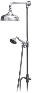 "Vado Westbury Traditional rigid riser kit in chrome with 8"" head."