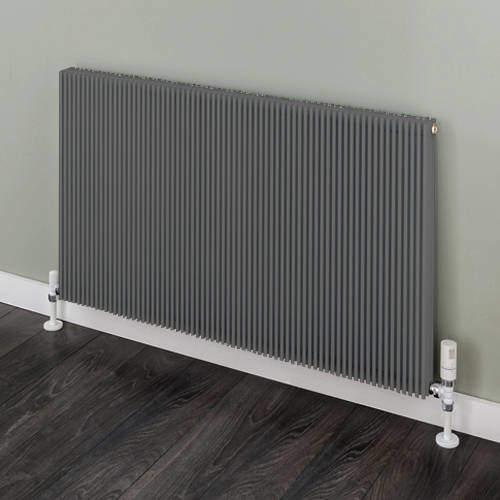 EcoHeat Hadlow Horizontal Aluminium Radiator 526x880 (Grey).