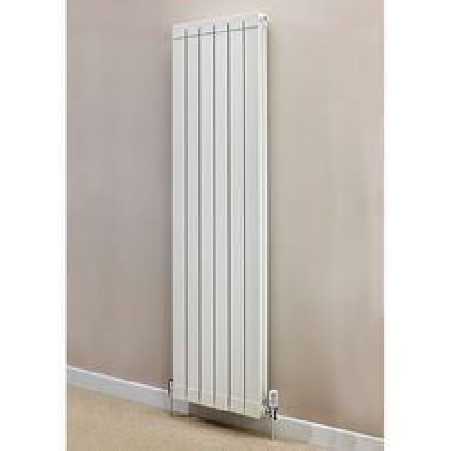 EcoHeat Saxon Vertical Aluminium Radiator & Brackets 1446x500 (White).