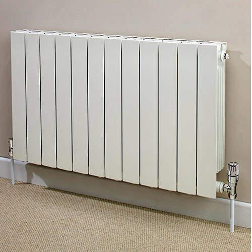 EcoHeat Saxon Horizontal Aluminium Radiator & Brackets 590x420 (White).