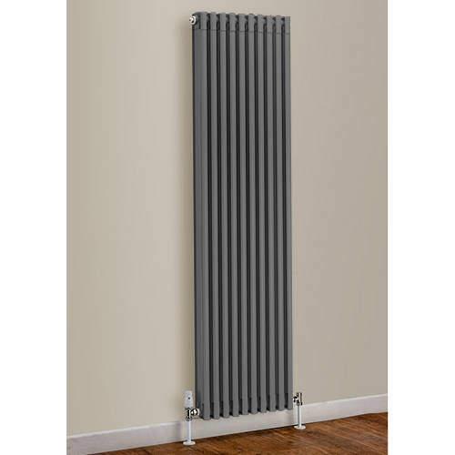 EcoHeat Woburn Vertical Aluminium Radiator 1470x270 (Window Grey)