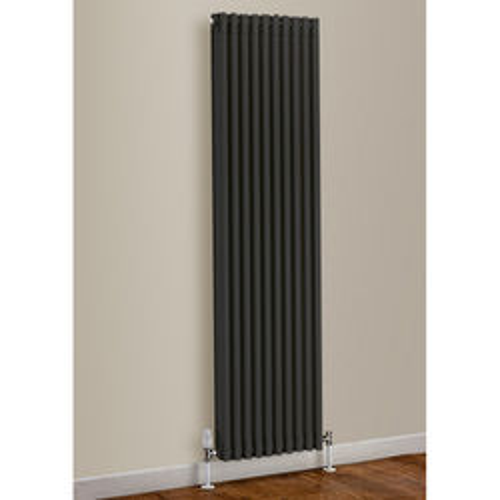 EcoHeat Woburn Vertical Aluminium Radiator 1470x270 (Jet Black).