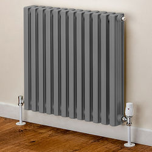 EcoHeat Woburn Horizontal Aluminium Radiator 668x620 (Window Grey)