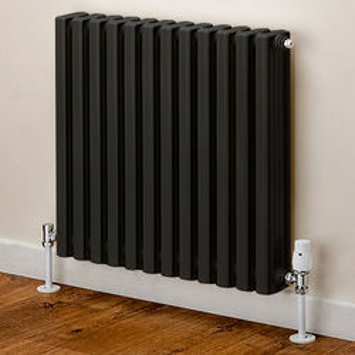 EcoHeat Woburn Horizontal Aluminium Radiator 668x620 (Black).