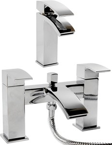 Hydra Asti Waterfall Basin & Bath Shower Mixer Tap Set (Chrome).