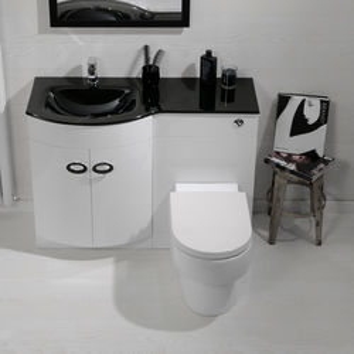Italia Furniture Vanity Unit Pack With BTW Unit & Black Glass Basin (LH, White).