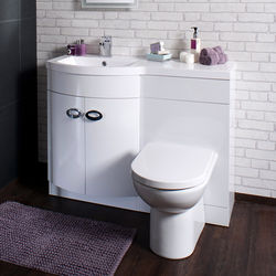 Italia Furniture Vanity Unit Pack With BTW Unit & White Basin (LH, White).