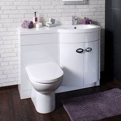 Italia Furniture Vanity Unit Pack With BTW Unit & White Basin (RH, White).