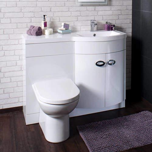Italia Furniture Vanity Unit Pack With BTW Unit & White Basin (RH, White).