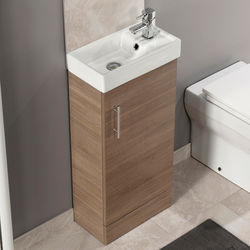 Italia Furniture Compact Vanity Unit With Ceramic Basin (Medium Oak).