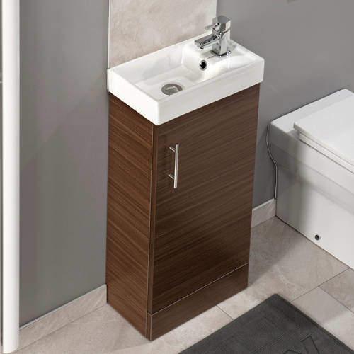 Italia Furniture Compact Vanity Unit With Ceramic Basin (Walnut).