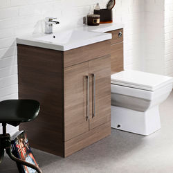 Italia Furniture L Shaped Vanity Pack With BTW Unit & Basin (LH, Medium Oak).