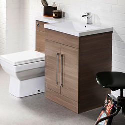 Italia Furniture L Shaped Vanity Pack With BTW Unit & Basin (RH, Medium Oak).
