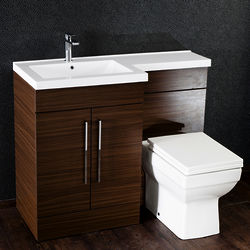 Italia Furniture L Shaped Vanity Pack With BTW Unit & Basin (LH, Walnut).