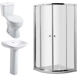 Oxford En Suite Bathroom Pack With 900mm Quadrant Enclosure & Tray (4mm).