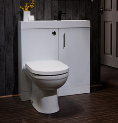 Italia Furniture Cube Plus Pack With White Vanity, BTW Unit & Basin (RH).