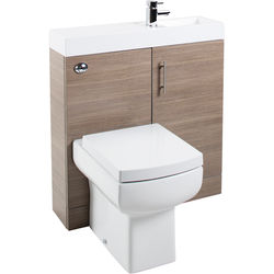 Italia Furniture Cube Plus Pack With Oak Vanity, BTW Unit & Basin (RH).
